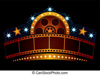 Gold film strip at neon sign with reel and stars