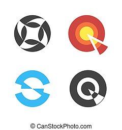 Circular Logo Set. Negative Space Style Logotype. Vector