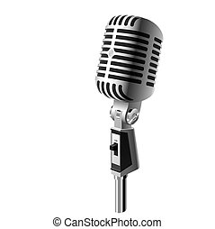 Vector illustration of a retro microphone. Detailed portrayal.