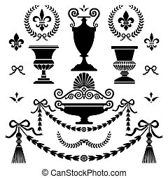 Set of classic style ornaments, isolated on white, full scalable vector graphic for easy editing and color change