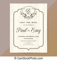 Classic vintage wedding invitation card
