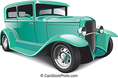 Vectorial image of green classical hot rod, isolated on white background. File contains blends and gradients.