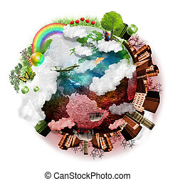 A green and red globe of the earth is isolated on a white background with clouds, a city, trees and grass around it. It is beautiful on one side and destructive on the other representing time.