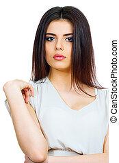 Closeup of a young beautiful brunette woman