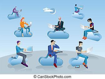 Cloud Computing Men Sitting In Clouds