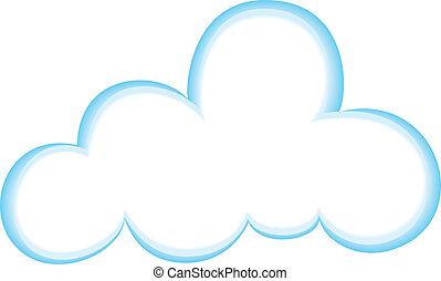 Cloud Icon, Color, Gradient Blue/White