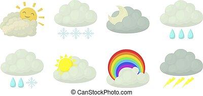Cloud icon set, cartoon style