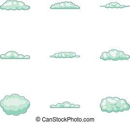 Cloud icons set, cartoon style