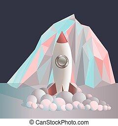 cloud, rocket, ship, vector, space,