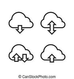 Cloud Storage Icon Set. Vector