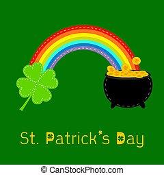 Clover leaf, pot gold and rainbow. St Patricks day card. Flat d