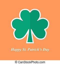 Symbol of St. Patrick's Day clover leaf with shadow on orange background. Vector illustration