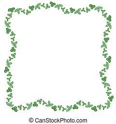 Clovers green leaves frame
