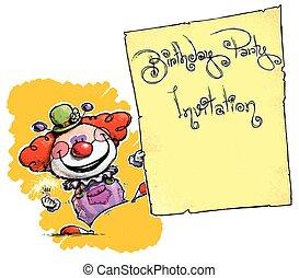 Clown Holding Invitation-Birthday Party