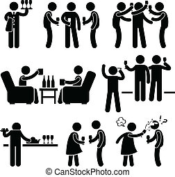 A set of people stick figure pictograms representing cocktail party with many friends gathering and hanging around with each others.