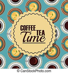 coffee and tea time label with cups decoration background