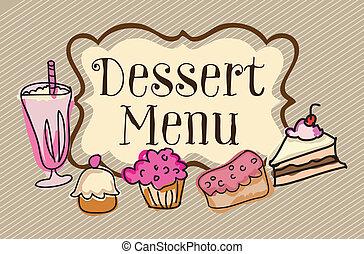 Dessert menu on vintage background, vector illustration