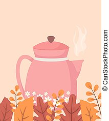 coffee time and tea, pink kettle with flowers and season