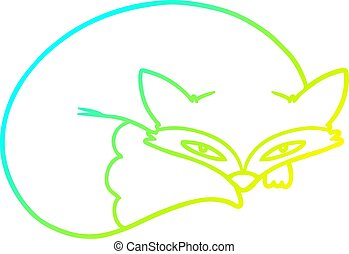 cold gradient line drawing cartoon curled up fox