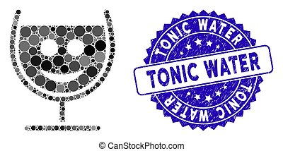 Collage Happy Glass Wine Icon with Grunge Tonic Water Stamp
