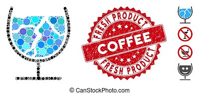 Collage Ice Drink Icon with Grunge Fresh Product Coffee Stamp