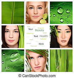 Collage with four beautiful healthy women, green leaves and plants. Organic skincare, beauty, health. Copy space.