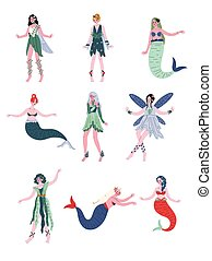Collection of Beautiful Forest Fairies, Nymphs, Mermaids, Sirens Vector Illustration