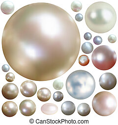 Collection of color pearls isolated on white. EPS 8 vector file included