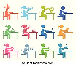 Collection of icons presenting education and different school subjects, science, art, history, geography, chemistry, maths, music, chemistry. Students in school attending classes. Pictogram icon set.