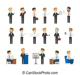 Collection of office workers in different situations