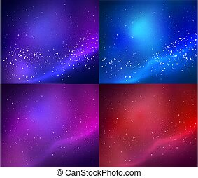 Collection of outer space vector backgrounds
