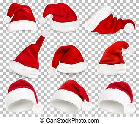 Collection of red santa hats on transparent background. Vector.