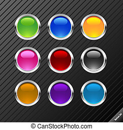 Collection of round glossy vector buttons. Different colors, easy to edit, any size. Aqua web 2.0 style.