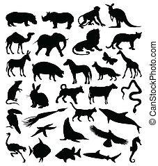 Collection of silhouettes of animals3