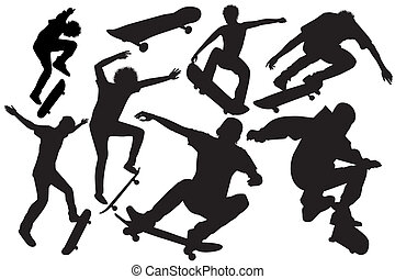 Set of skateboard jump on a white background-vector