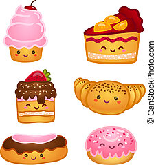 Collection of sweet pastries croissant cake and pie isolated vector illustration