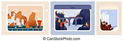 Collection of train, aircraft or ship window views on beautiful cities, urban landscapes. Around the world trip, travel or journey through beautiful places. Modern vector in flat cartoon style.