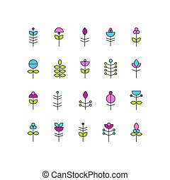 collection of vector abstract flower elements