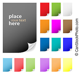 Collection of vector multicolored paper with peeled corner. Perfect for adding text, design. More in my gallery.