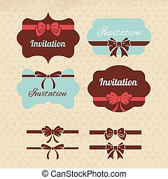 Collection of vintage labels, ribbons and bows Elements for design