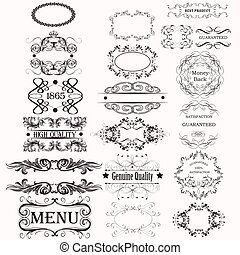 Collection or set of vector calligraphic frames for design