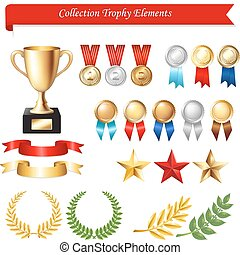 Collection Trophy Elements, Isolated On White Background, Vector Illustration