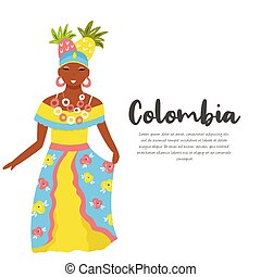 Colombian woman in traditional costume with fruits