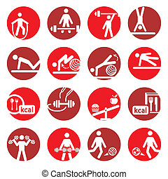 color fitness and sport icons