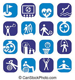 color fitness icons set