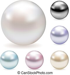 Vector collection of color pearls isolated on white.