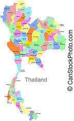 Color Thailand map with regions over white
