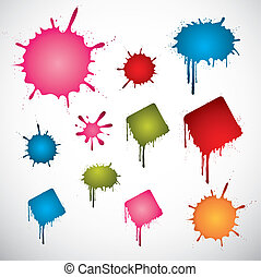 Set of various colored vector ink spots