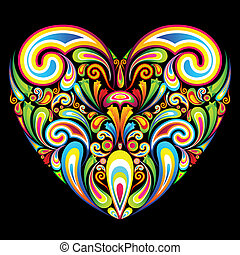 illustration of heart formed by colorful abstract swirl