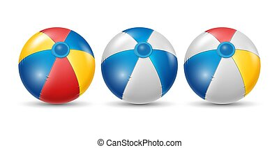 Colorful beach ball with different color set. white, yellow, and blue beach ball isolated on white background. Vector illustration